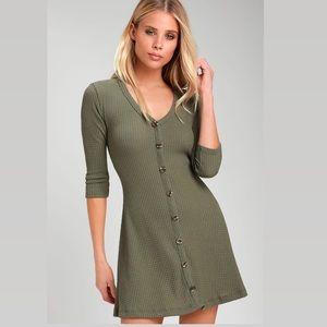 Lulu's Olive Green Button-Front Knit Swing Dress